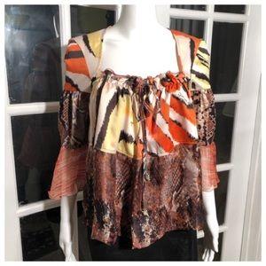 Just Cavalli silk snake orange brown top